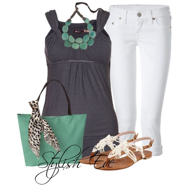 grey, white and mint summer outfit - would replace the mint color with red or yellow, but love the denim top idea.