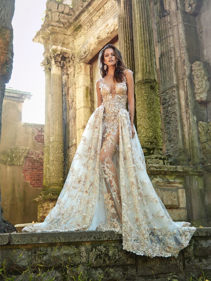 #GaliaLahav -- Lily Rose is a princess silhouette in a multi-layered sheer dress. Hand appliqued and beaded in antique rose shades. This dress combines a mermaid silhouette with a top ball-gown-like layer. A very low neckline and a new bridal color.