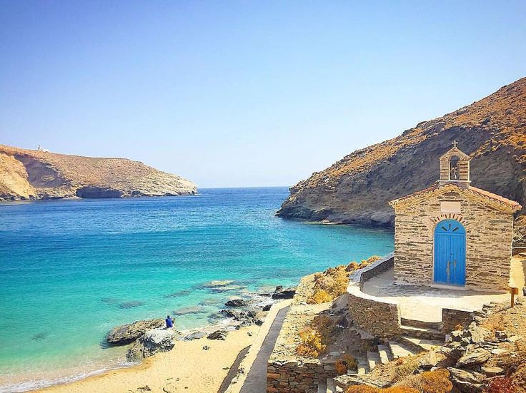 Andros island (Άνδρος). Stunning shades of blue in Achla beach .
