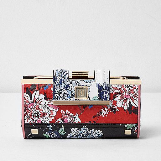 Red floral print clip top purse - purses - bags / purses - women