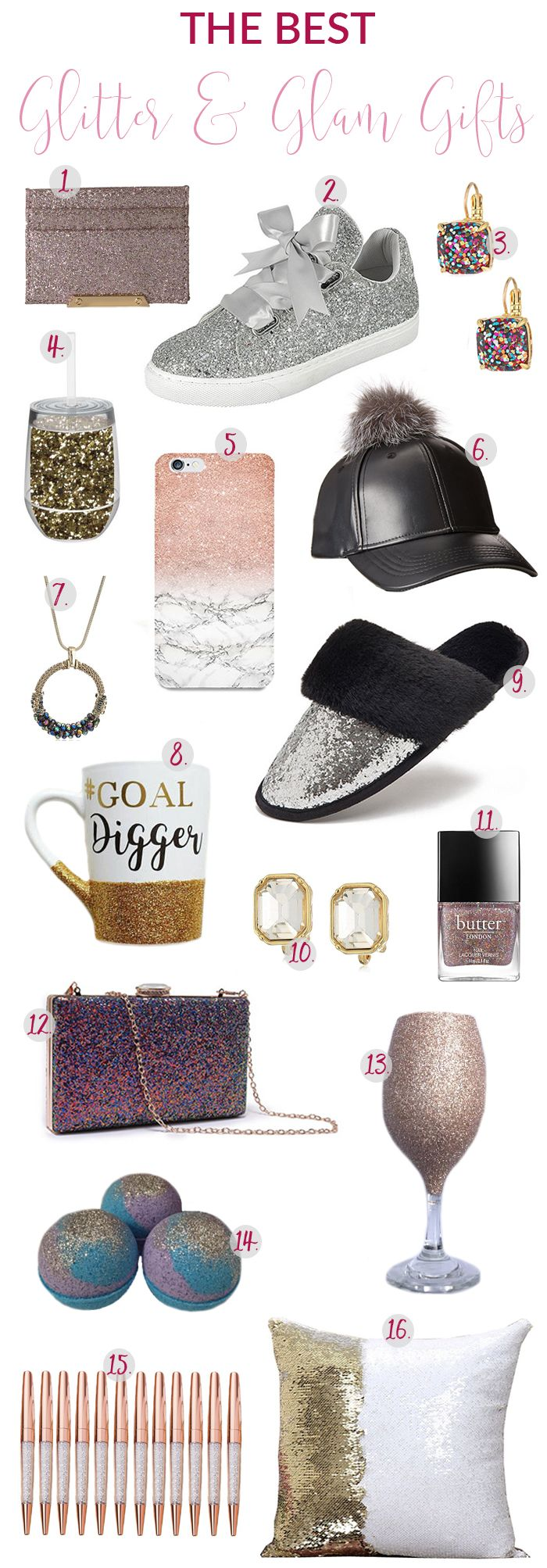 If its metallic, glittery or glam, I'm ALL OVER IT! These glitter and glam gift ideas are perfect for the girl that loves all things sparkly and shiny!  #giftguide #giftguide2017 #glitterandglam #giftsforher