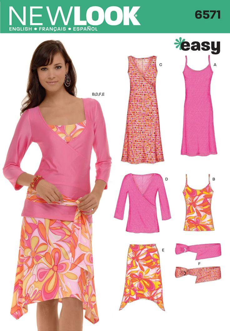 Womens Knit Dresses, Tank Top Sewing Pattern 6571 New Look