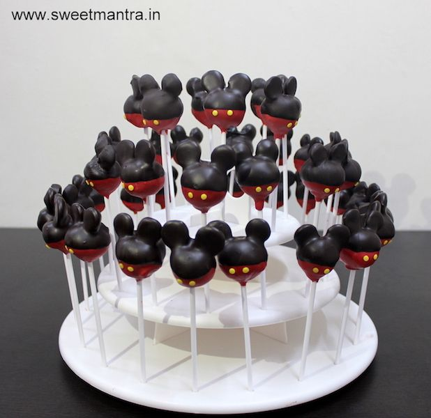 Mickey Mouse theme homemade eggless Cake Pops for kids birthday party at Pune