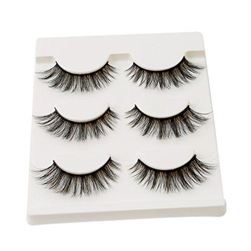 6caffccd613 HENGSONG 3 Pair Black False Eyelashes Natural Thick Eye Lashes Makeup  Extension