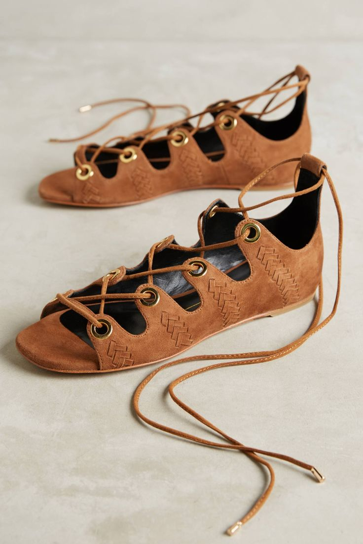 Slide View: 1: Lola Cruz Lace-Up Suede Sandals