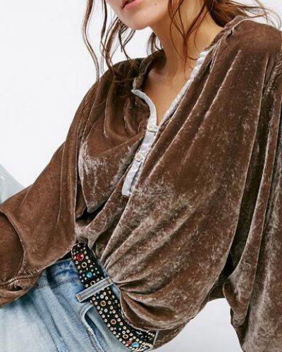 Brown batwing sleeve t shirt for women soft velvet t shirts