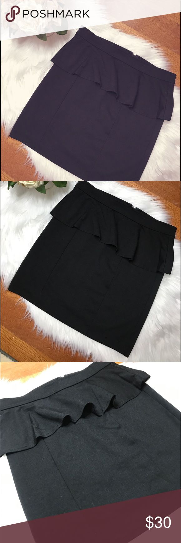 American Eagle Outfitters Black Peplum Skirt Sleek, form fitting, peplum pencil skirt in the shade black. Gently worn, size 6. Looks great on! Very flattering with the peplum upper. Zipper in the back, super easy to put on and comfortable to wear. Professional looking as well. American Eagle Outfitters Skirts Mini