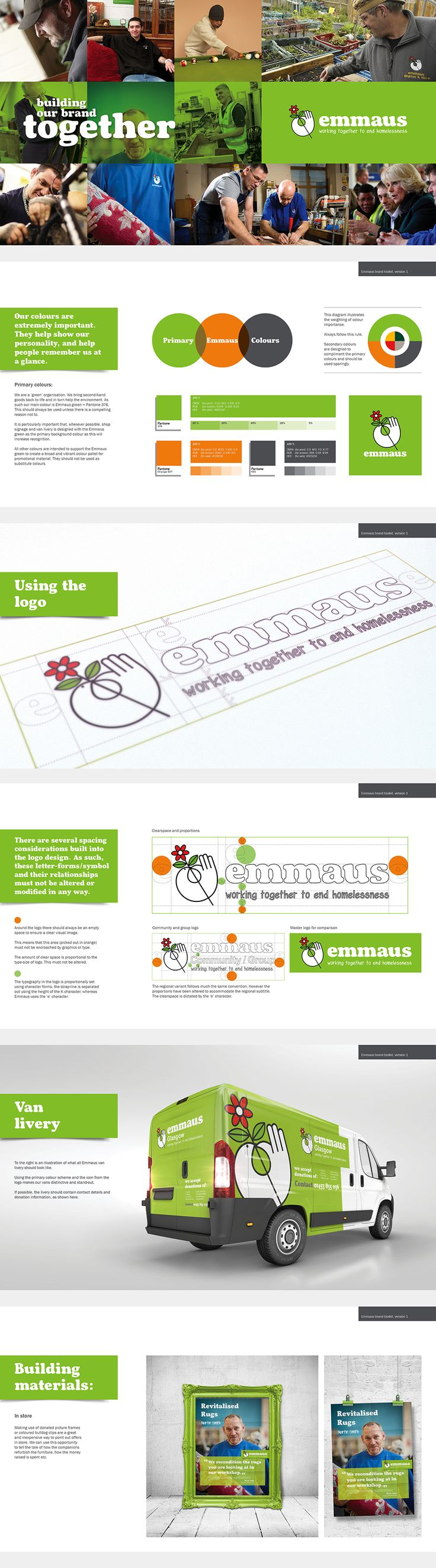 Brand guidelines for the homelessness charity Emmaus. Whilst Emmaus are a huge international charity, they currently have little profile and brand recognition, this project is the first step to creating a cohesive and recognisable brand. Find an Emmaus near you! http://www.emmaus.org.uk