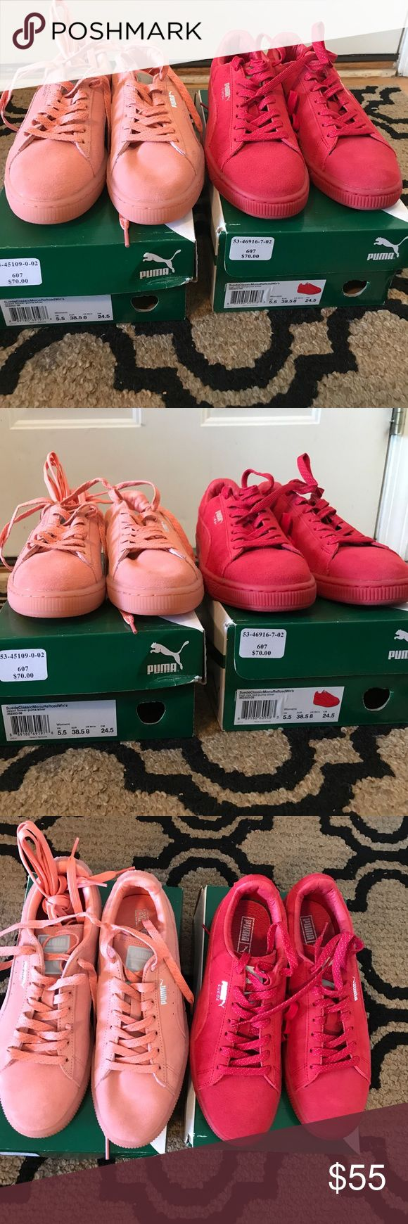 Puma sneakers-suede classic One pink and one red pair both size 8; pink never worn and the red were worn once Shoes Sneakers