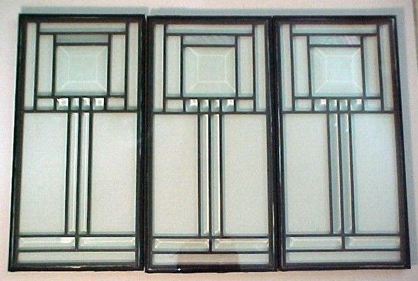Craftsman Style Leaded Glass Panel- Beveled and stained Glass. $18.00, via Etsy.