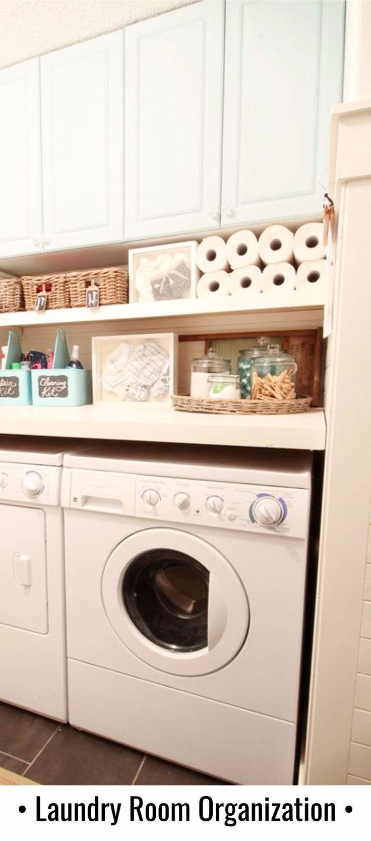 Clever laundry room organizing hack to get more storage space!  decluteringyourlife.com
