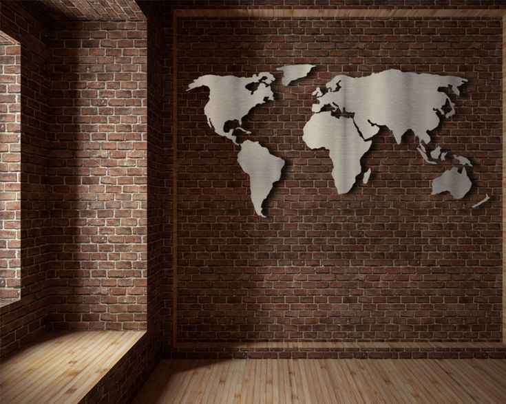 Wereldkaart ''Classy'' - RVS - Formaat XL   wereldkaart muur   wanddecoratie   RVS wereldkaart