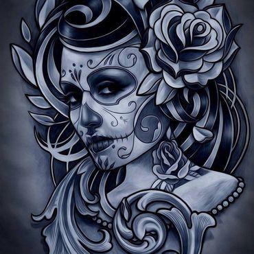 Девушка муэртос с розой