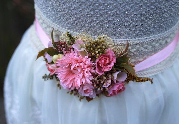 flower belt wedding belt elegant belt by MagaelaAccessories