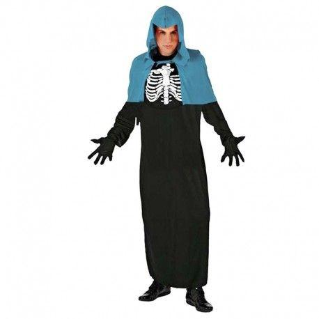 Disfraces Halloween hombre | Disfraz de brujo esqueleto azul. Compuesto de tunica decorada con huesos y capucha capelina de color azul. Talla M/L. 14,95€ #brujo #esqueleto #disfrazbrujo #disfrazesqueleto #disfraz #halloween #disfrazhalloween #disfraces