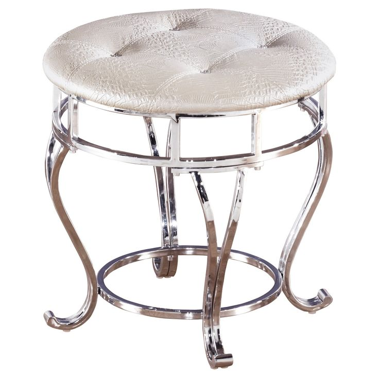 Zarollina Upholstered Stool Silver Signature Design By