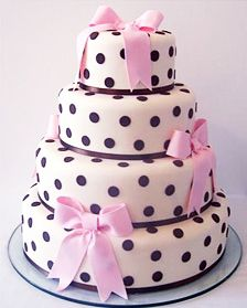 polka dot cake with pink bows