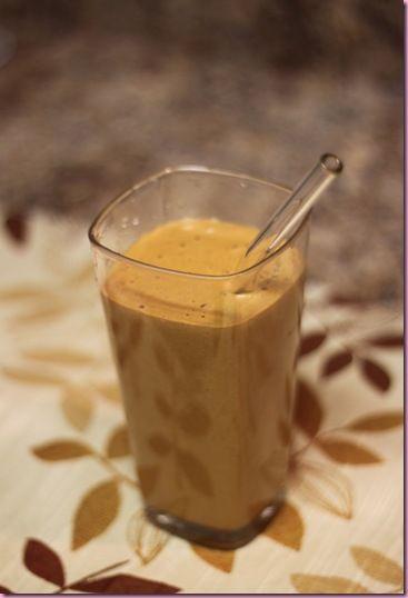 Pumpkin Pie Smoothie :D      -1 C almond milk      -1/2 C pumpkin      -1 T raw cacao powder      -1/2 avocado      -Protein (Sun Warrior + Dr protein)      -ice      -cinnamon, vanilla, nutmeg