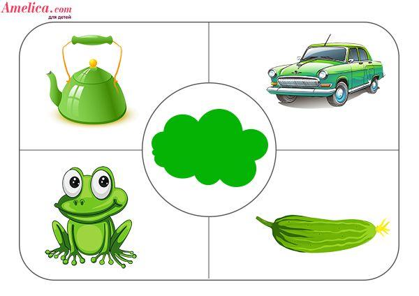 Дидактическая игра учим цвета с ребенком, игровое поле - зеленый цвет