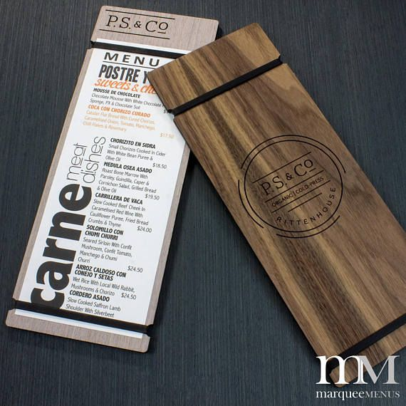 Marquee Menus custom, handcrafted menu holders are laser cut and available in a wide range of distinct finish choices. We apply your veneer choice to a 1/4 wood core to create an eye catching menu holder with a modern design. This produces a product that is unparalleled in appearance, or