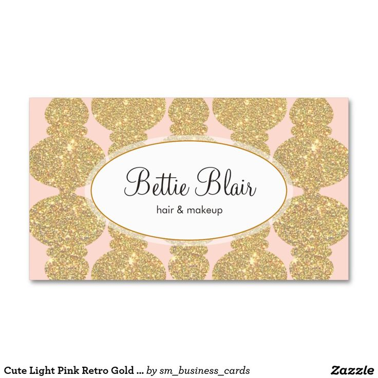 Cute and girly –  Light Pink Retro Gold Glitter Makeup ArtistBusiness Cards (Pack Of 100) – Great for beauty consultants, cosmetologists, hairstylists, fashion boutiques and more.