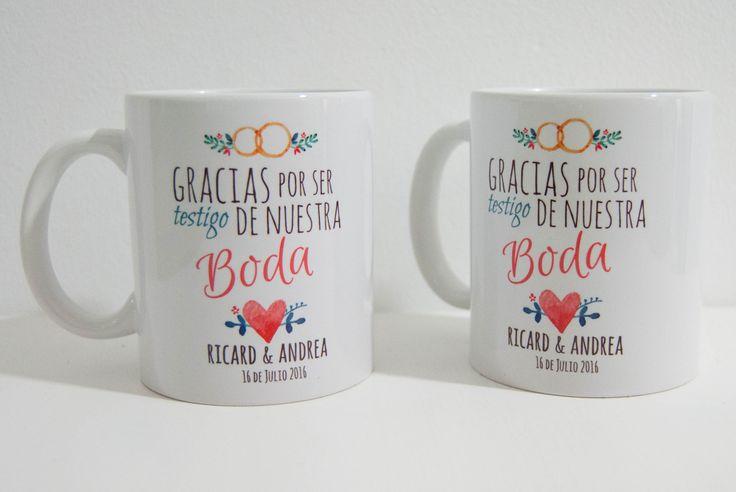 Tazas para tus testigos de boda totalmente personalizadas . El regalo perfecto para tus testigos de boda,