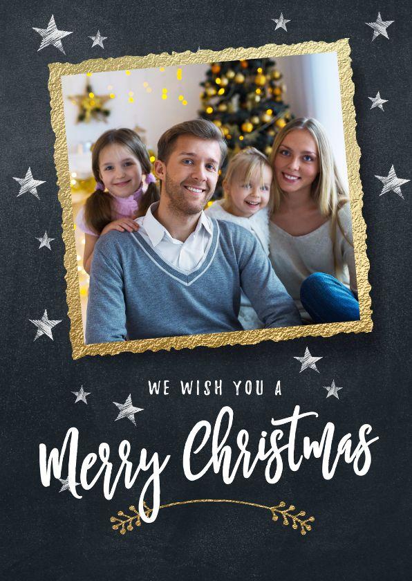 Hippe kerstkaart met mooi fotokader en handlettering. Voeg een leuke foto van jouw gezin toe voor een persoonlijke touch! Verkrijgbaar bij #kaartje2go voor €1,89