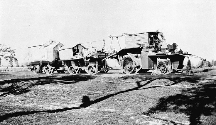 'Big Lizzie' near Lorquon in 1925-26. It was the largest tractor built in Australia prior to World War II with a 60 hp 8 ton, 215 rpm single cylinder Blackstone crude oil engine. The tractor unit: 34' long x 11' wide x 18' high, the prime mover weighed 45 tons and with her 2 trailers was capable of carrying 80 tons payload.