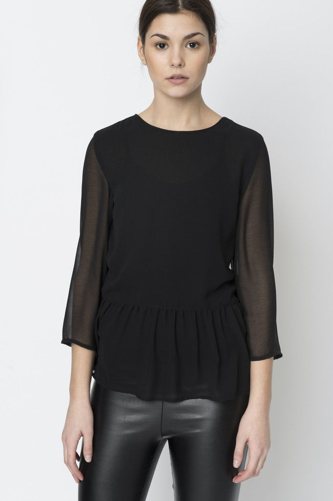 Via Strozzi Sheer Peplum Keyhole Blouse A sexy but sophisticated  lightweight evening top. Loosely fitted