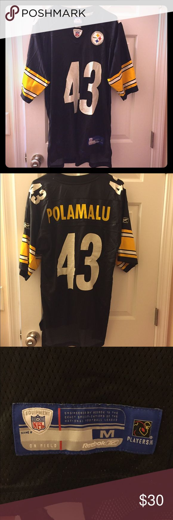 Authentic Steelers Jersey NFL It's almost time for kickoff! This is an Authentic Pittsburgh Steelers jersey (Troy Polamalu). Officially licensed by the NFL. Size is Adult Medium (men's or women's). It has been worn approximately 3-5 times since I purchased it. I will gladly de-wrinkle the jersey if purchased! NFL Other