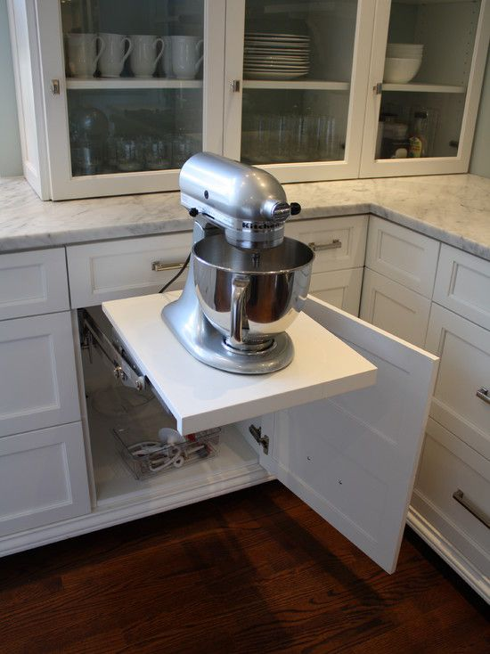 Kitchen With Pop Up Mixer Shelf Swing Out Shelf And Mixer