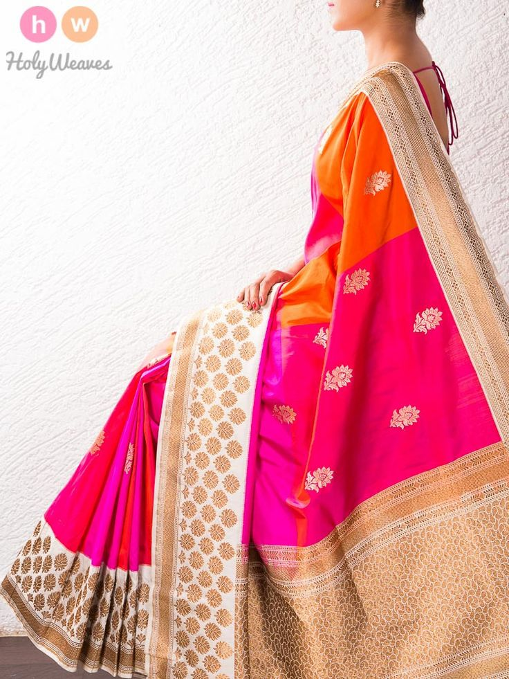 Pink-Orange Kadhuan Brocade Silk Saree