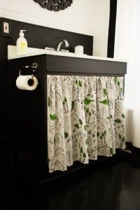 Under Sink Curtain Maybe Use Hemmed Shower Curtain A