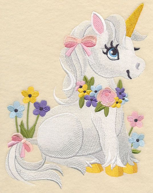 Soft and sweet unicorn a sewing machine embroidery