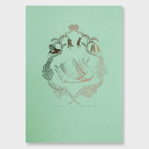 Swan Vase Metallic Art Print by Rochelle Andrews See here: http://www.endemicworld.com/swan-vase-metallic-art-print-by-rochelle-andrews.html