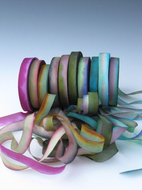A Hanah Hand Dyed Silk Ribbon CollectionHand Dyed by mermaidsbeads, $12.00