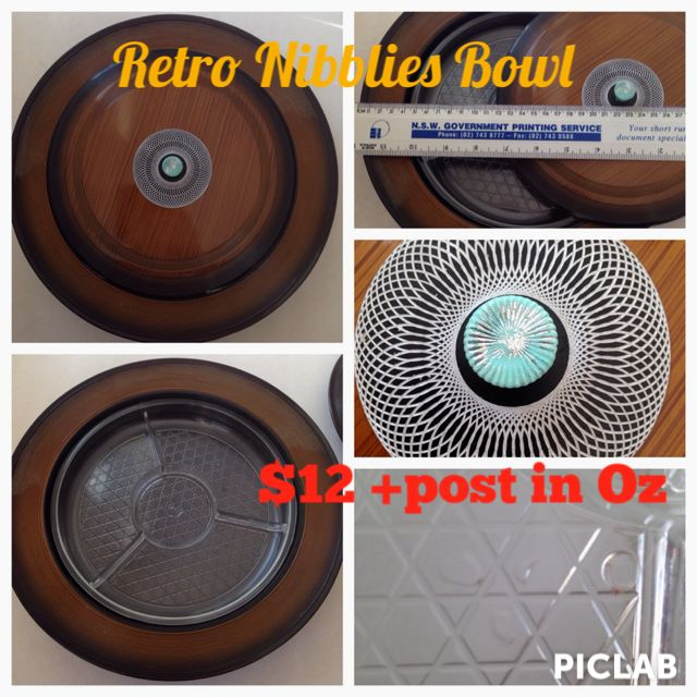 For Sale items : Retro Plastic Wood Grain look Nibblies Bowl, with lid and 3 way divider insert. Some marks from use. $12 +post in Oz.