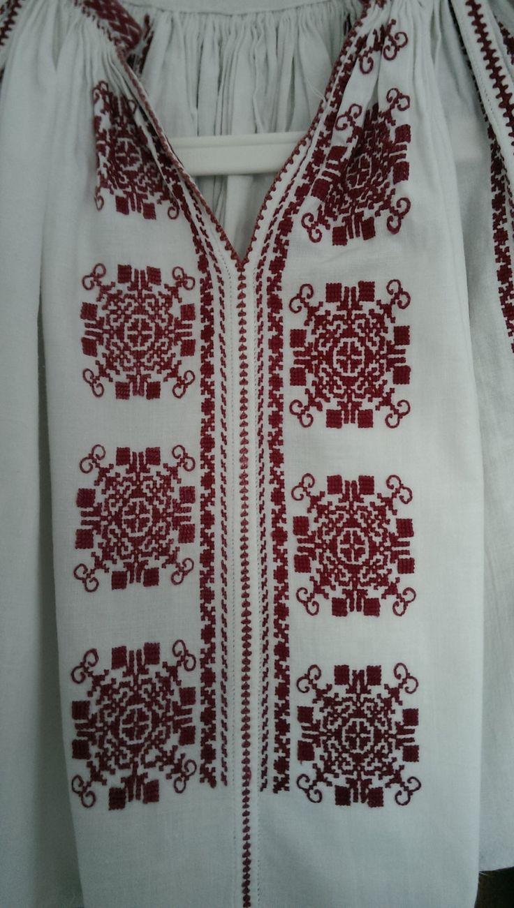 Very impressive and rare vintage romanian traditional top blouse hand embroidered and hand sewn with brown cotton thread on white off homespun linen.