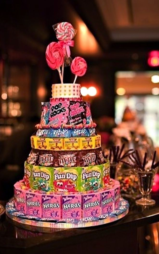 "candy+cake | Candy Cakes for a ""sweet""16 birthday gift hope I can pull it off...maybe roll money on top to look like candles."