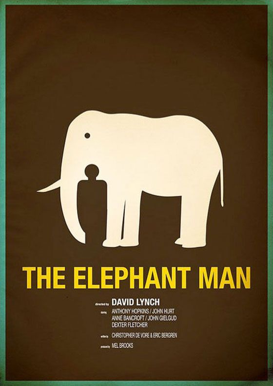 What better way to portray the sensitive tale of a hideously deformed man than to paste a stock silhouette against an elephant?
