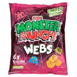 6 Packs of Monster Munch Bacon Webs, bacon flavour corn puffs.