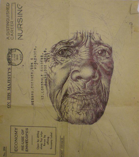 biro on 1948 envelope by mark powell bic biro drawings, via Flickr