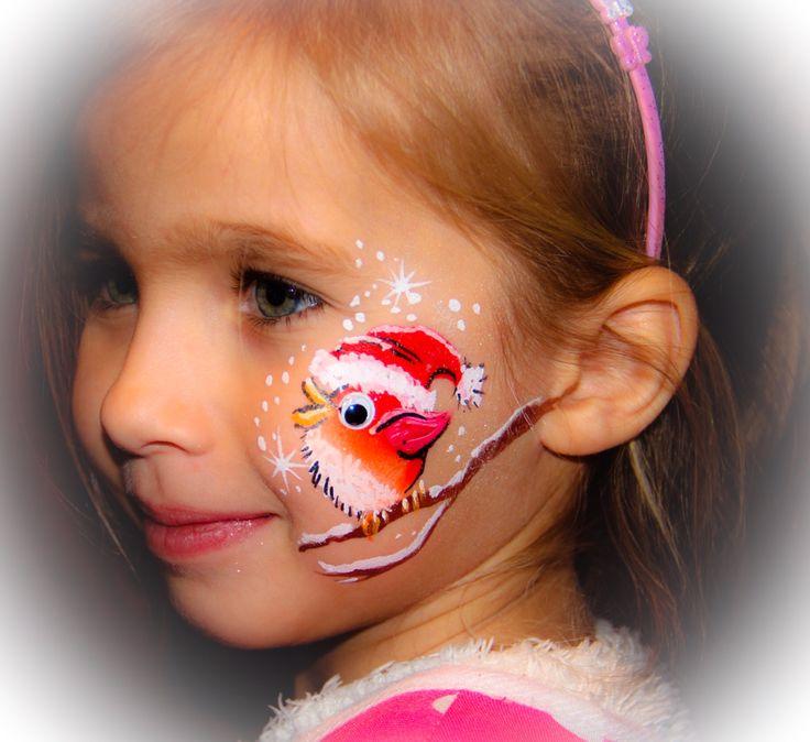 Little Birdie pimped Xmas style Artist Yvonne Zonnenberg # Facepaint # Christmas designs