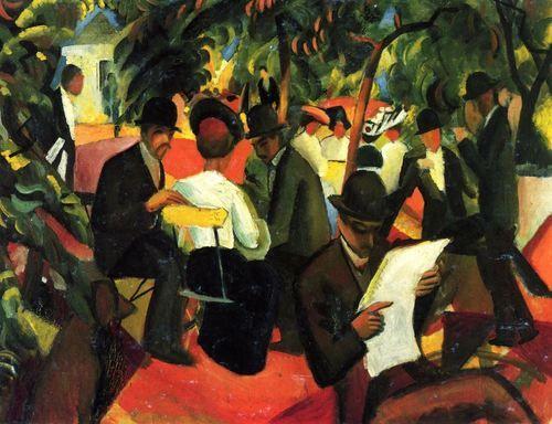 August Macke.  Gartenrestaurant.1912, Öl auf Leinwand, 81 × 105cm.Bern, Kunstmuseum.Künstlergruppe »Der Blaue Reiter«. Deutschland.Expressionismus.  KO 00539