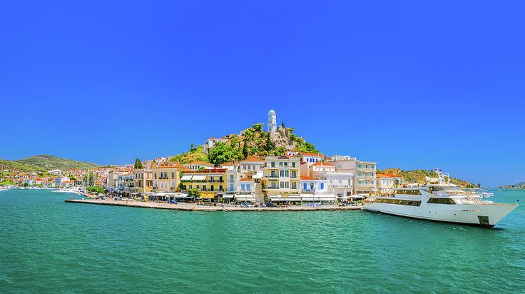 Jane Star Photograph - Panoramic View Of The Greek Island Poros by Jane Star  #JaneStar #Greece #Island Poros #ArtForHome #InteriorDesign #HomeDecor