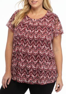 Kim Rogers Women's Plus Size Chevron Print Top - Sangria Multi - 1X