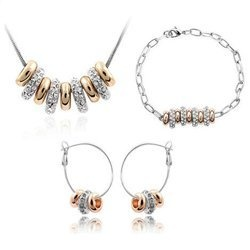 18k Goldplated Circles Lariat Jewelry Set with Clear Crystal Rhinestone Contempo Culture
