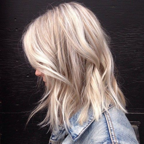 Lob with Blonde Highlights