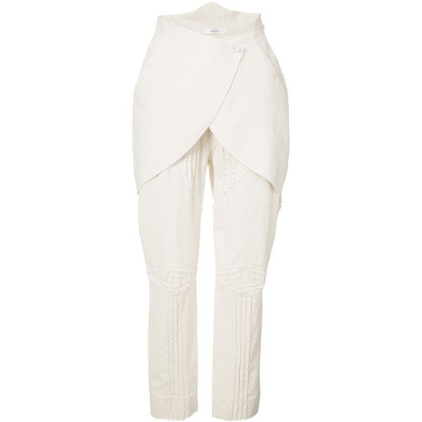 Aganovich layered crop trousers (738 AUD) ❤ liked on Polyvore featuring pants, capris, white, cotton trousers, cropped pants, aganovich, white crop pants and white trousers