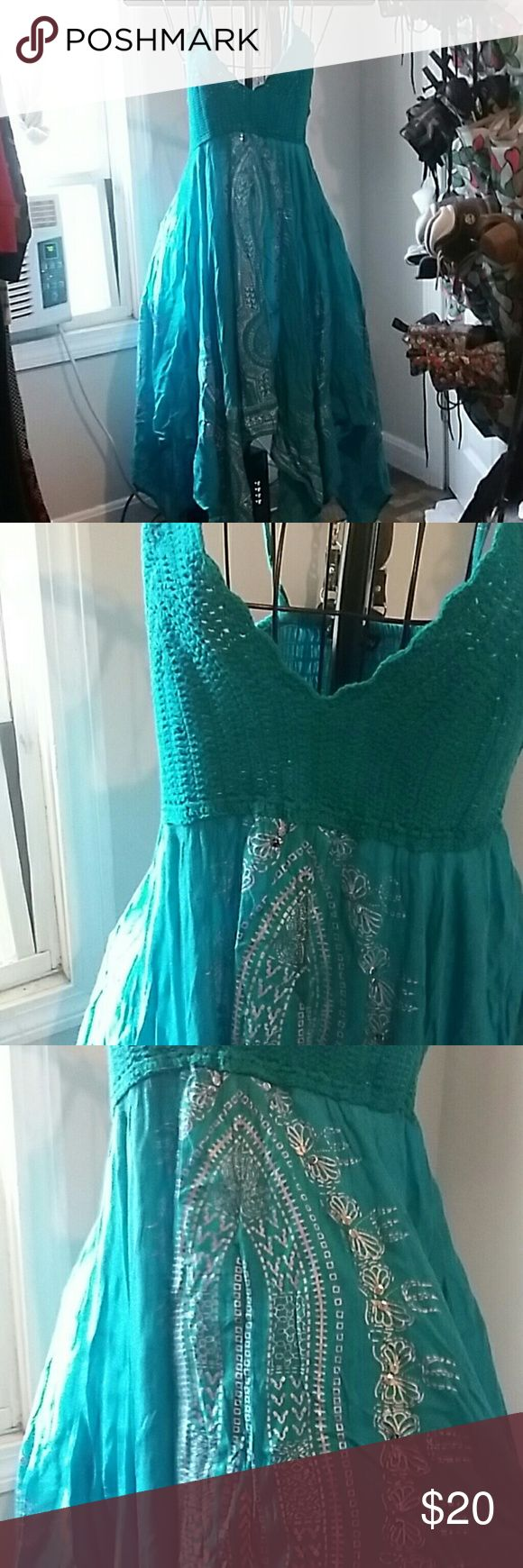 NWT*** BEAUTIFUL BLUE FESTIVAL DRESS Turquoise and silver, with a crocheted top and flowing, breathtaking bottom. Small but will stretch and fit med too diva collection Dresses Midi